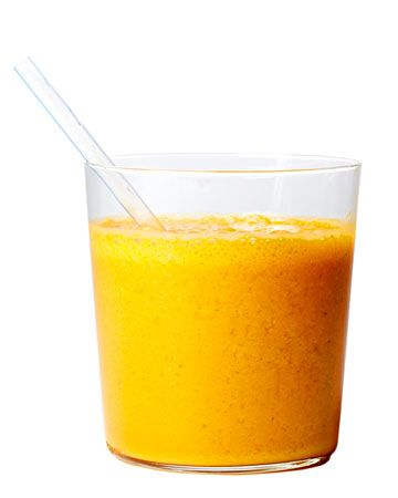 Carrot, Mango, and Herb Smoothie    2 cups frozen mango chunks  1 cup fresh carrot juice  1 cup freshly squeezed orange juice  1/4 cup fresh herbs, such as mint, tarragon, or basil