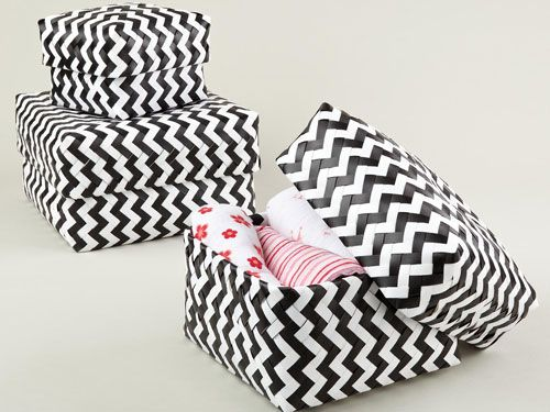 Store your stuff in style! We love these chevron baskets.