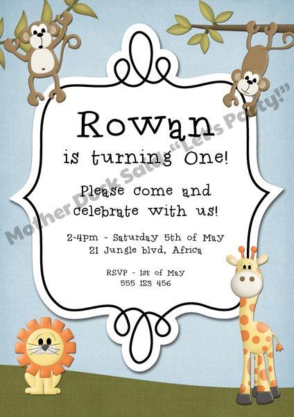 Customised Safari Party invitation
