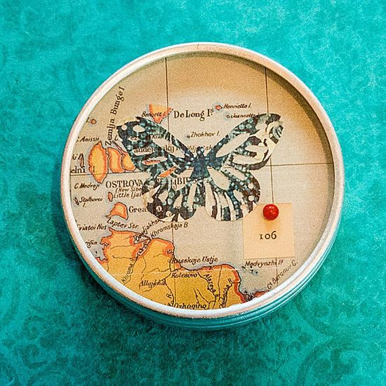 Butterfly tins, home decor, wall art, geography