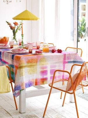 Watercolor wash pattern on the table cloth.  summer house