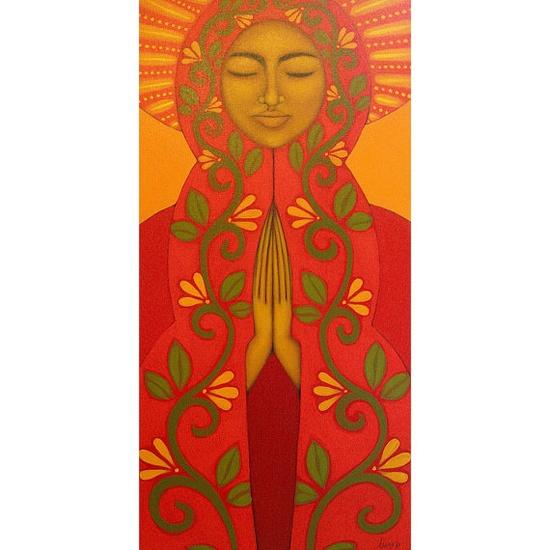 Red Madonna Mexican Folk Art Original Prayer Painting By Tamara Adams