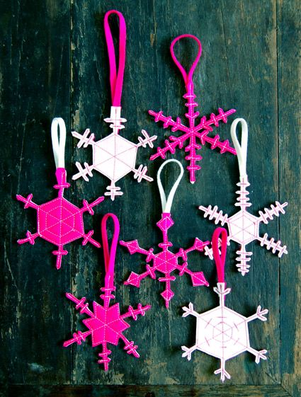 Molly's Sketchbook: Two Sided Felt Snowflakes - The Purl Bee - Knitting Crochet Sewing Embroidery Crafts Patterns and Ideas!