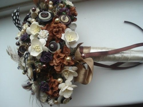 button & Bead bouquet. beautiful for a fall wedding