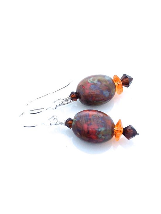 Brown and orange Czech glass earrings with Swarovski crystal. #brown #orange #earrings by #UrbanClink, $27.00