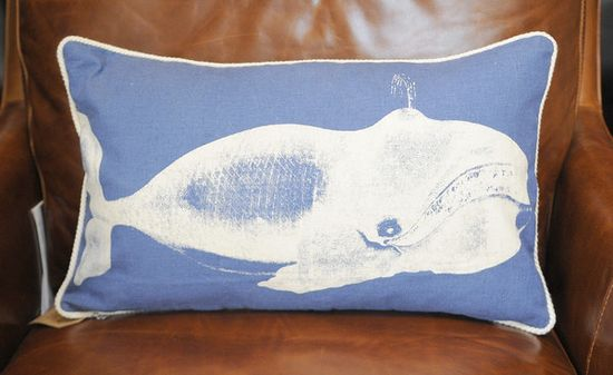 Nautical home: Thomas Paul Whale pillow. $82 at Trohv in Baltimore.