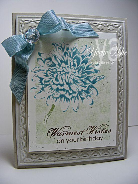 6/19/2012; Yvette at 'Yvette's Paper Garden' blog; Blooming with Kindness stamp set; ink: Baja Breeze, Wild Wasabi, Soft Suede, Whisper White (Craft); Paper: Sahara Sand, Whisper White + Framed Tulips Embossing Folder