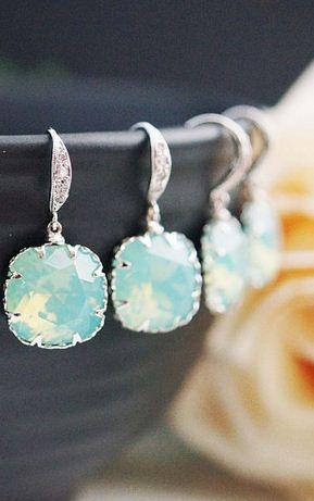 Gorgeous jewelry for bridesmaids. Loving this soft aqua color!