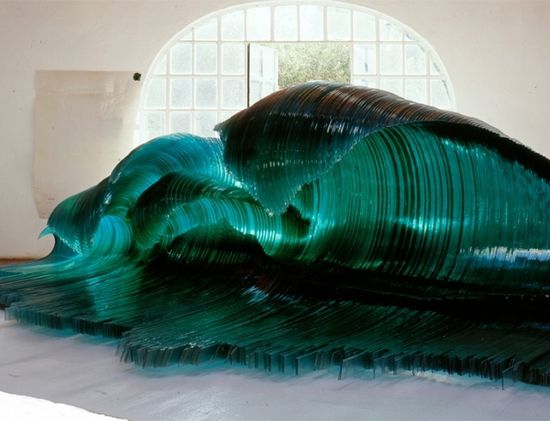 Giant Ocean Waves Sculpture of Glass by Mario Ceroli