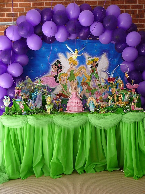 Tinkerbell party table display - I like the tulle around the table!