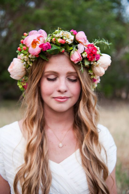 are flower crowns the new veil?   Photography by brookeschultzphot..., Floral Design by calierose.com