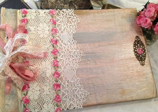 Wedding Photo Album  Pink rose shabby chic by youruniquescrapbook, £75.00