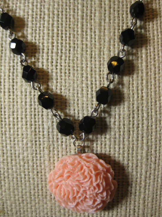 Ruffled Peony Necklace in Soft Pink and Black by SoCoDivka on Etsy, $30.00