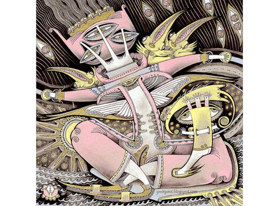 Pink in a Boat  fine art print surreal illustration