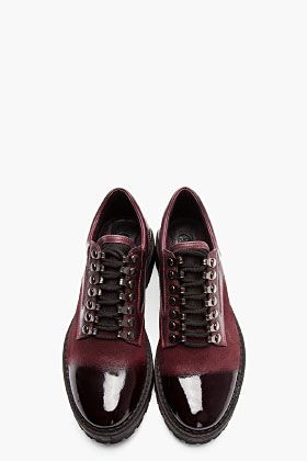 MCQ ALEXANDER MCQUEEN Oxblood Brushed Suede Polished Toe Shoes
