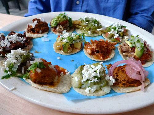 Probaditas Sampler: 12 Tacos served on Mini Hand-made Tortillas at Loteria Grill