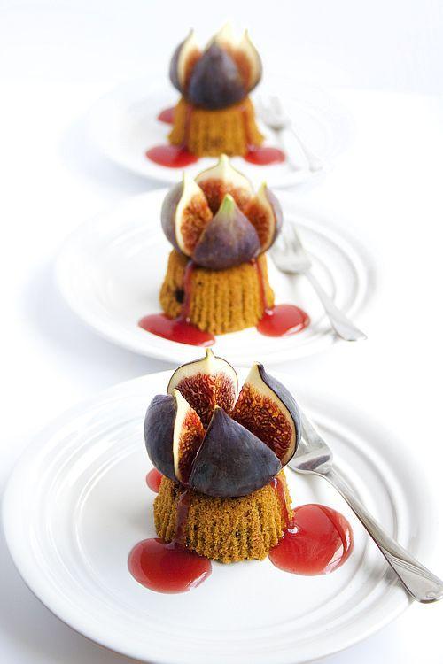 Pumpkin Downcakes with Bleeding Figs. #healthy Dessert #health Dessert