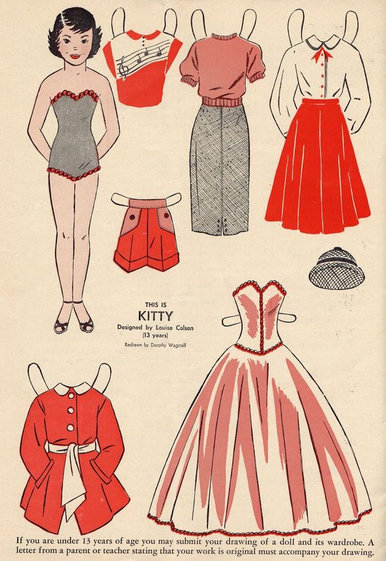 Kitty vintage paper dolls