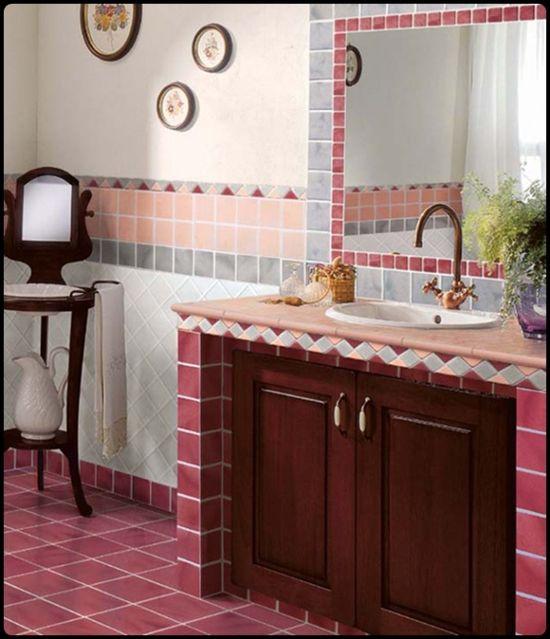 pink antique tiled bathroom design ideas