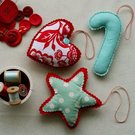 pretty handmade christmas ornaments @Em Frankcom Cummins Wofford -I sure do need a sewing machine pronto!