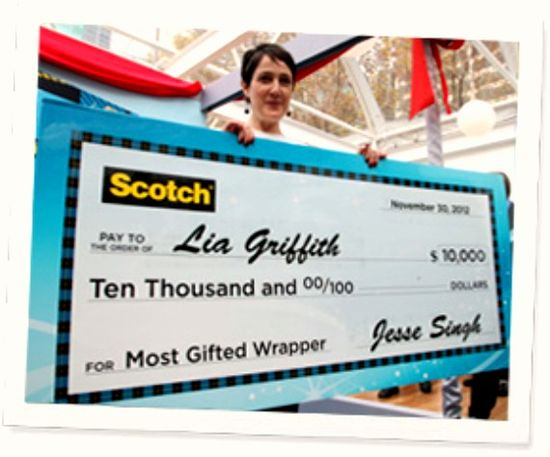 I get to compete for this big $$ in the Scotch Most Gifted Wrapper Contest in New York City.  Details on the blog at www.Concordcottag...