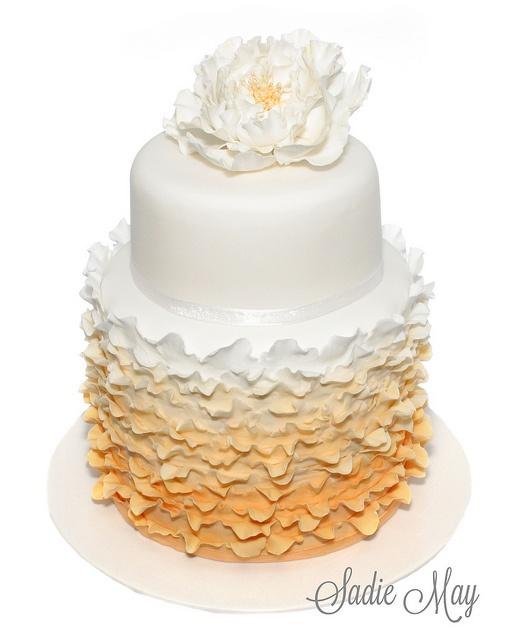 Ruffle wedding cake, via Flickr.  :Sadie May Cakes