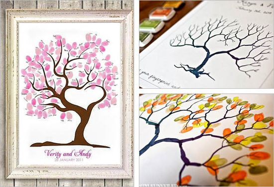 THINKING SHANNON ...Fingerprint Guest Book  Design your guest book as a work of art. Just let your guest press their thumb to create leaves in which they will place their signature or message for the bride and groom.