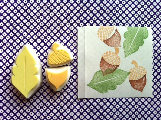 acorn hand carved rubber stamp. hand carved stamp. autumn mountains. handmade. set of 3. $10,00, via Etsy.