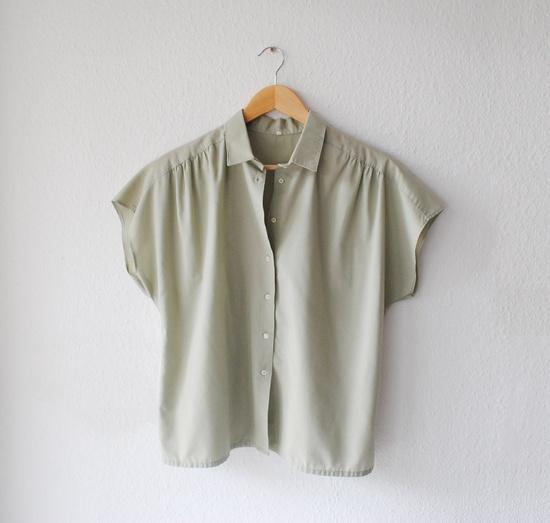Pale Green Womens Blouse/ Shirt -Short Sleeved -Medium Large -Vintage. $20,00, via Etsy.