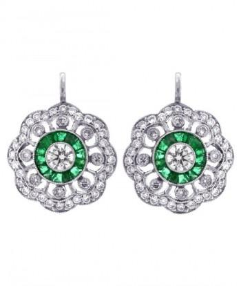 Platinum Diamond & Emerald Earrings