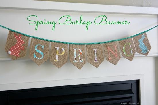 Spring Burlap Banner