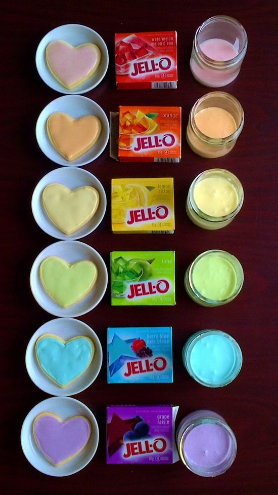 By just stirring some jello into your frosting...it will change the color and flavor. Good idea!