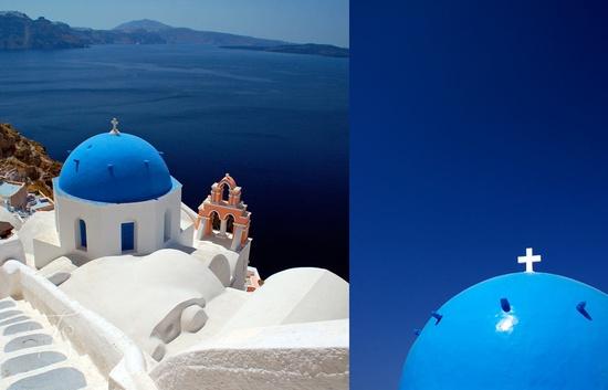 The romantic island of Santorini. Travel+Style