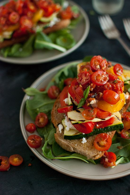 Stacked Tomato, Summer Vegetable and Grilled Bread Salad via @Kate (Cookie + Kate)