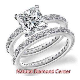 2.90 Carat Princess Cut Eternity Certified Diamond Wedding Ring Set in 14k White Gold Center 1.50 Carat