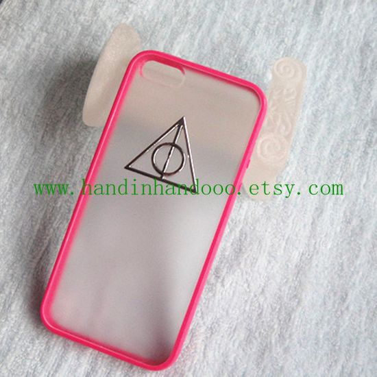 Iphone 5C Case,Harry Potter Deathly Hallows Iphone 5C Case, iPhone Case 5C pink color frosted translucent case