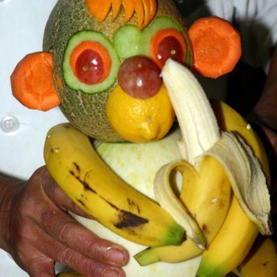 Fruit monkey food grapes food art lemons carrots banana food art images food art photos food art pictures food art pics melons