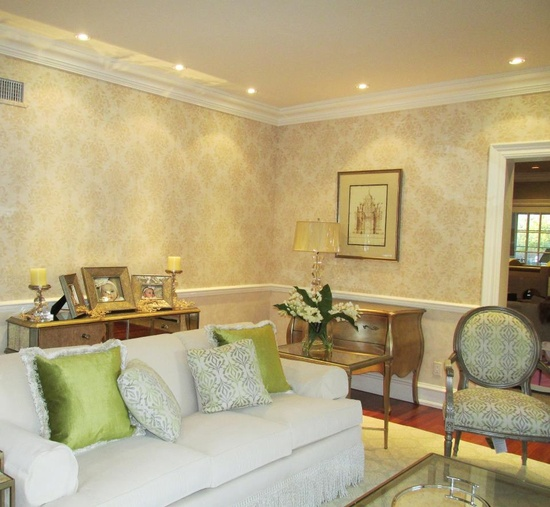 Warm, Inviting... How would you describe this neutral colored living room using our Wild Berry Damask stencil?  Get the same look as Theresa, from Bella Terra Designs, Inc. with the Wild Berry Damask here: www.cuttingedgest...