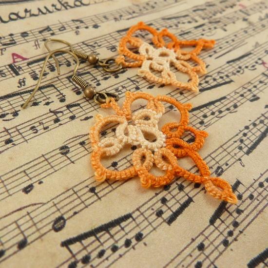 Tatting jewelry tatted lace earrings lace jewelry by Decoromana, $20.00