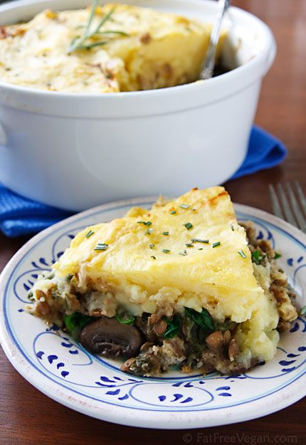 Hearty Lentil and Mushroom Shepherd's Pie (GF optional). Go one step further and make the topping with mashed cauliflower instead of potatoes. (1/8 pie serving: 338 cals, 7.1g fat, 11.2g fiber, 12.7g protein)