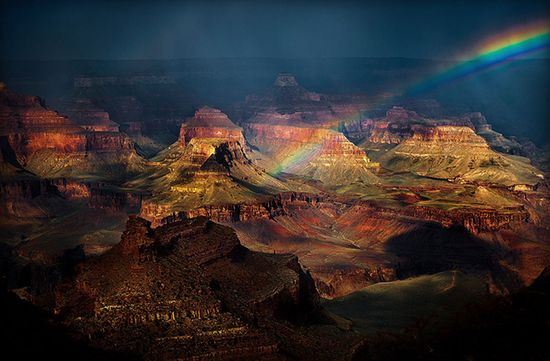"""Cathy Smart: """"After a rainy afternoon at the Grand Canyon, I was gifted with this 'Grand' view wrapped in a beautiful rainbow."""""""