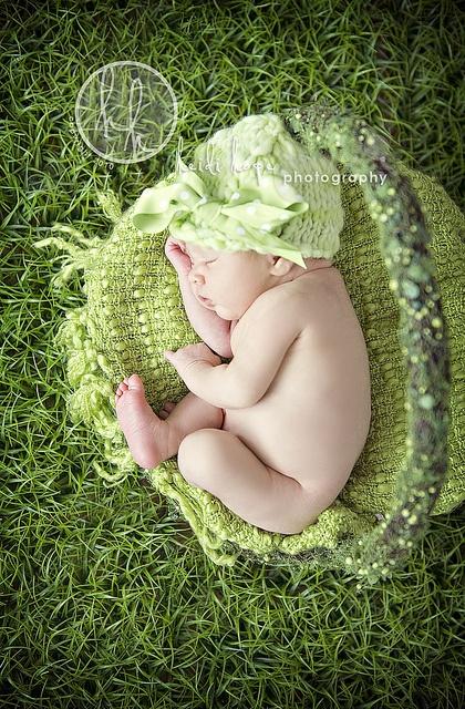 Green my favorite color, cute newborn picture
