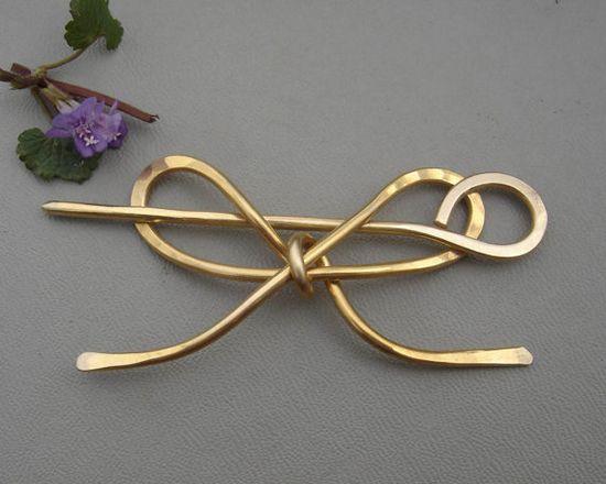 Brass Bow Shawl Pin / Brooch / Hair Pin by nicholasandfelice, $ 18.00