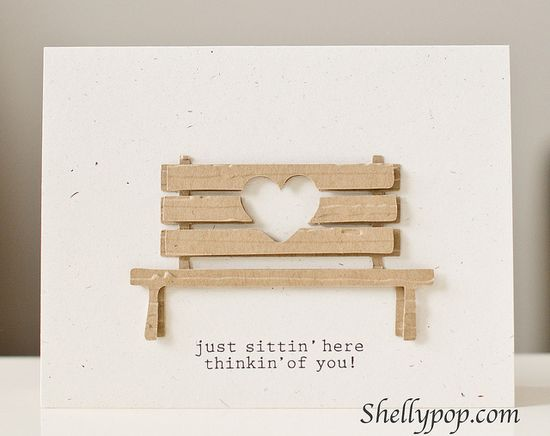 handmade card  ... sweet die cut bench with a negative space heart die cut ... adorable !!  Silhouette file ... popsicletoes3 ...