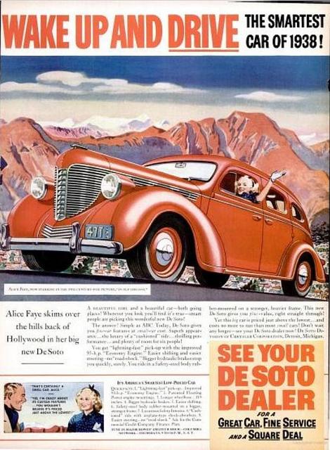 1938 Vintage Advert - De Soto Motor Cars