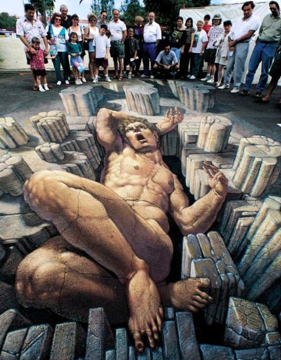3D street art- amazing.