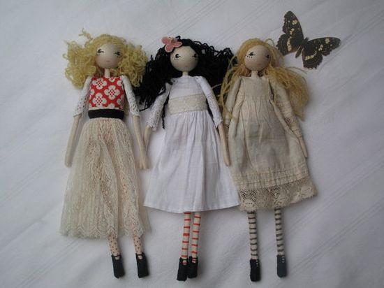 ooak small art doll wearing vintage lace