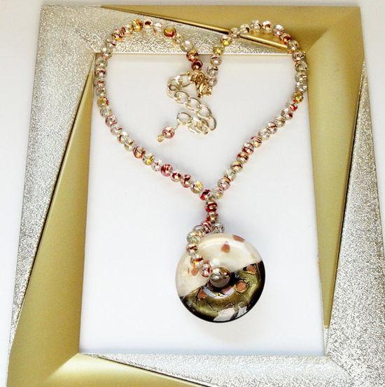 Cream Gold Olive Green Murano Glass Donut Pendant by BijiBijoux, $30.00