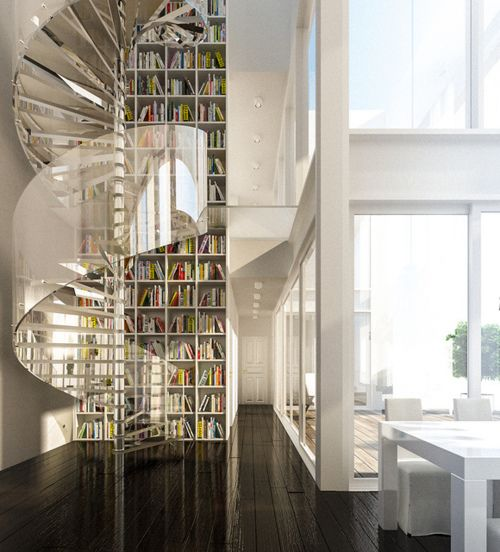 stair and bookcase.