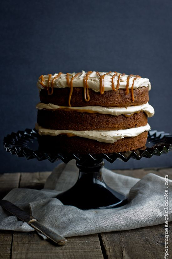 banana chocolate chunk cake w/ dulce de leche cream cheese frosting ++ portugese girl cooks